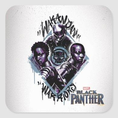 Black Panther | Wakandan Warriors Graffiti Square Sticker