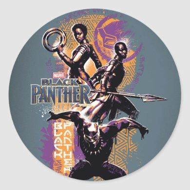 Black Panther | Wakandan Warriors Painted Graphic Classic Round Sticker