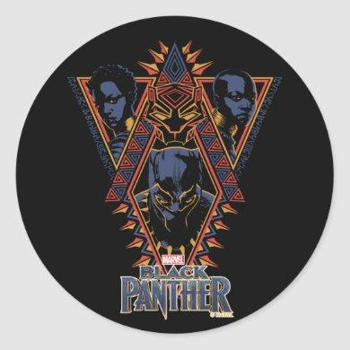 Black Panther | Wakandan Warriors Tribal Panel Classic Round Sticker