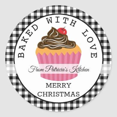 Black Plaid Baked With Love Christmas Cupcakes Classic Round Sticker