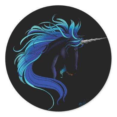 black unicorn classic round sticker