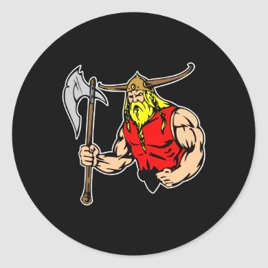 Black Viking Classic Round Sticker