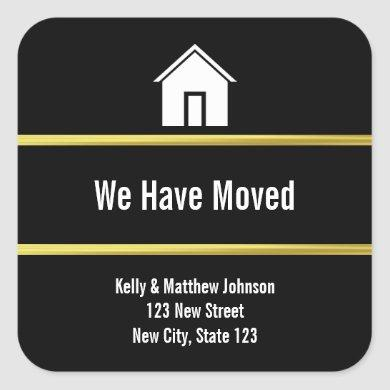 Black White and Faux Gold Moving Announcement Square Sticker