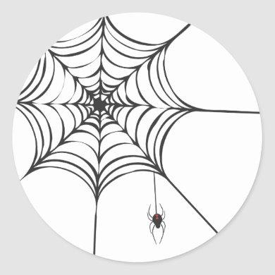 Black Widow Spider Cobweb Halloween Sticker