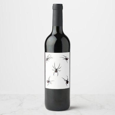 Black Widow Spiders Wine Label