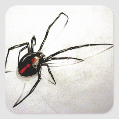 Black widow square sticker