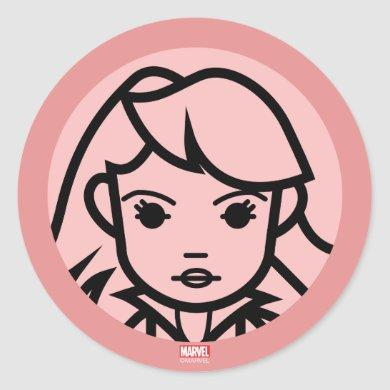 Black Widow Stylized Line Art Icon Classic Round Sticker