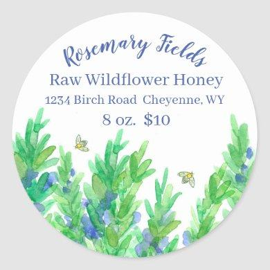 Blooming Rosemary Herb Bees Honey For Sale Classic Round Sticker