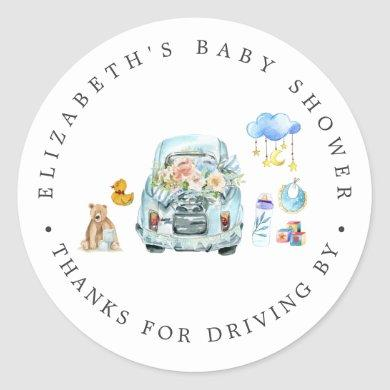 Blue Car   Drive-By Baby Shower Thank You Favor Classic Round Sticker