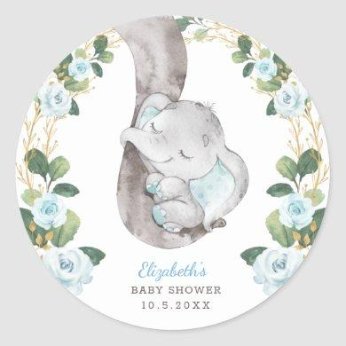 Blue Floral Greenery Gold Baby Elephant Shower Classic Round Sticker