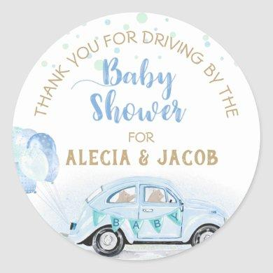 Blue Gold Car Drive By Baby Shower Thank You Classic Round Sticker