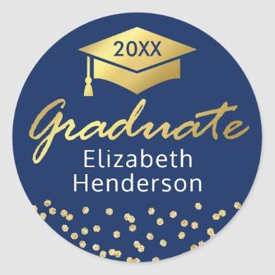 Blue Gold Glitter | Graduate Graduation Classic Round Sticker