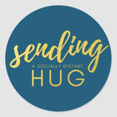 Blue Gold Sending a Socially Distant Hug Classic Round Sticker