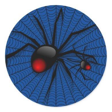 Blue Halloween Evil Black Widow Scary Spider Web Classic Round Sticker