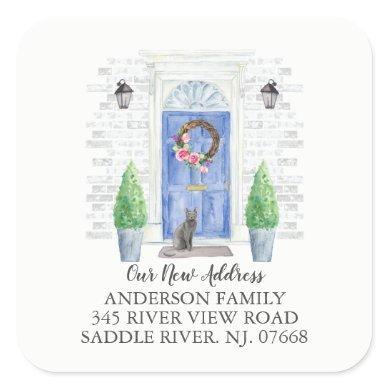 Blue Russian Blue Door New Address Label Sticker