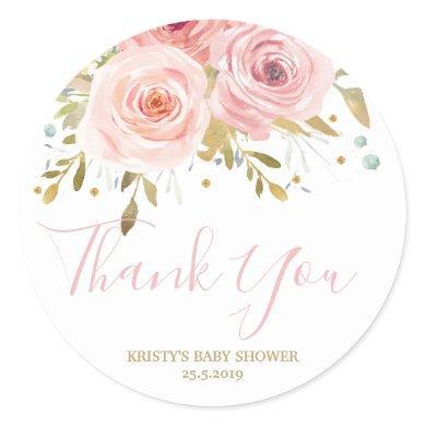Blush Pink Floral Baby Shower Girl Favor Classic Round Sticker