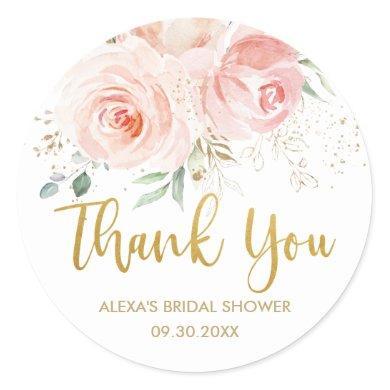 Blush Pink Floral Gold Bridal Baby Shower Favor Classic Round Sticker