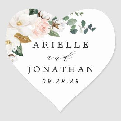 Blush Pink Gold and White Magnolia Floral Wedding Heart Sticker