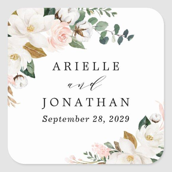 Blush Pink Gold and White Magnolia Floral Wedding Square Sticker