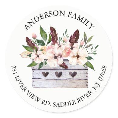 Boho Floral Flower Box Address Label Sticker
