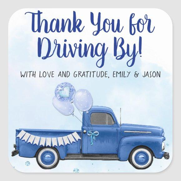 Boy Drive By Covid Baby Shower Favor Stickers
