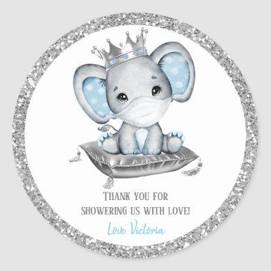 Boy Elephant Drive By Baby Shower Stickers