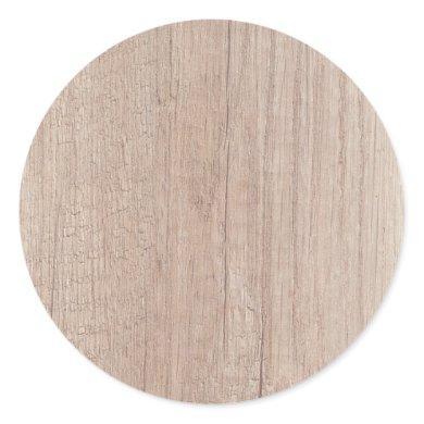 Brown Wood Board Look Blank Elegant Template Classic Round Sticker