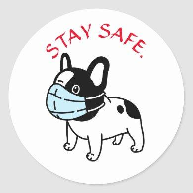 BULLDOG WITH FACE MASK BE SAFE ROUND STICKERS