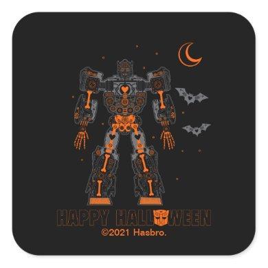 "Bumblebee Skeleton ""Happy Halloween"" Square Sticker"