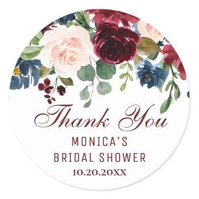Burgundy Navy Blue Blush Floral Bridal Shower Classic Round Sticker