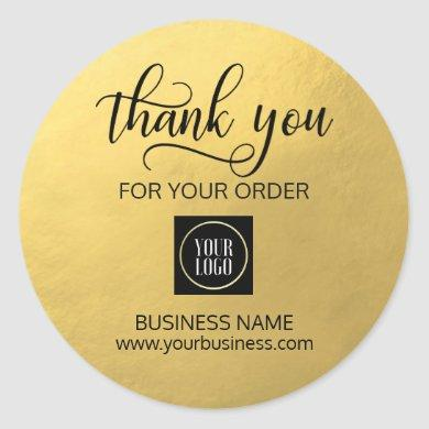 Business Corporate Thank You Gold Black | Add LOGO Classic Round Sticker