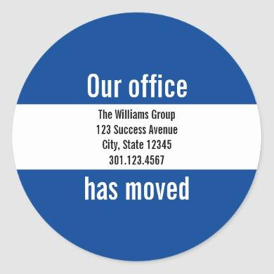 Business Dark Blue and White Moving Announcement Classic Round Sticker