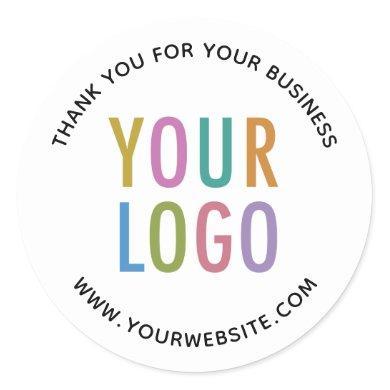 Business Thank You Stickers Custom Logo Round