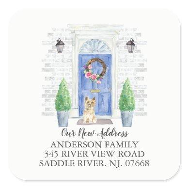Cairn Terrier Blue Door New Address Label Sticker