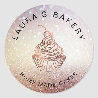 Cakes & Sweets Cupcake Home Bakery Rustic Vintage Classic Round Sticker