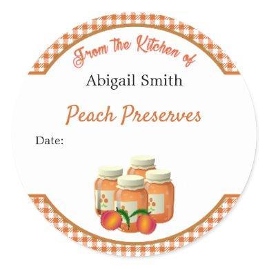 Canning Sticker Peach Gingham