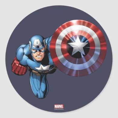 Captain America Assemble Classic Round Sticker