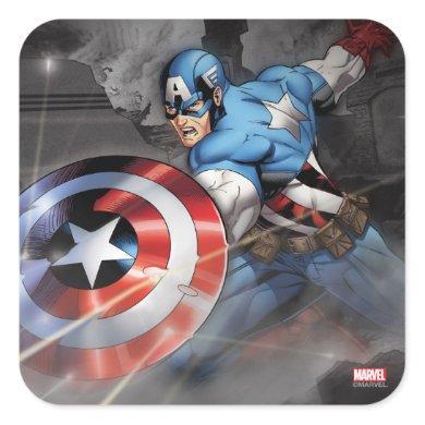 Captain America Deflecting Attack Square Sticker