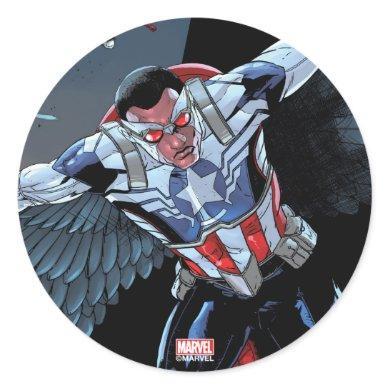 Captain America Fighting Crime Classic Round Sticker