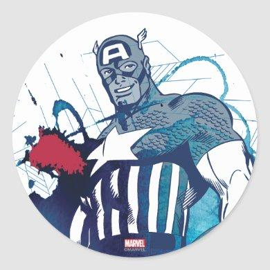 Captain America Ink Splatter Graphic Classic Round Sticker