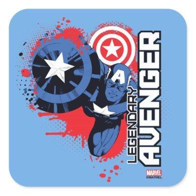 Captain America Legendary Avenger Square Sticker