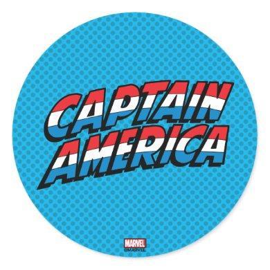 Captain America Name Logo Classic Round Sticker