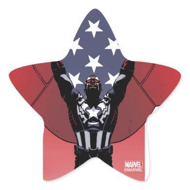 Captain America Patriotic City Graphic Star Sticker