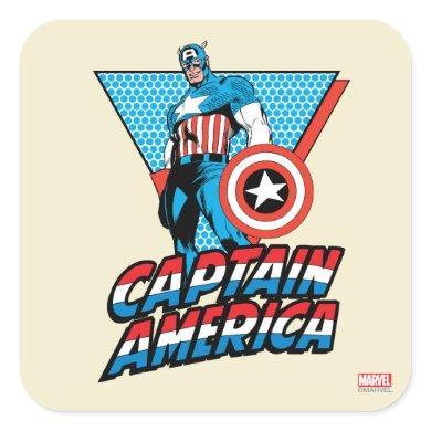 Captain America Retro Character Graphic Square Sticker