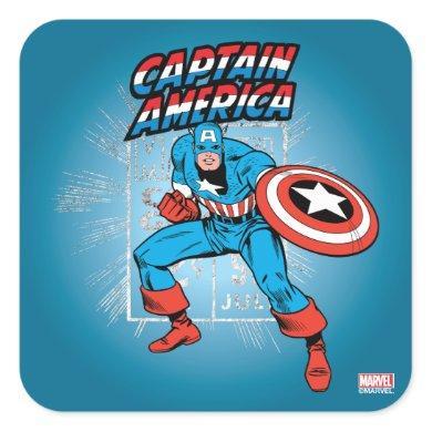 Captain America Retro Price Graphic Square Sticker