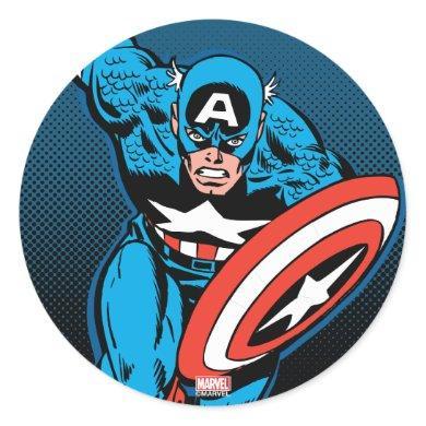 Captain America Run Classic Round Sticker