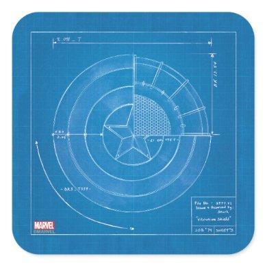 Captain America Shield Blueprint Square Sticker