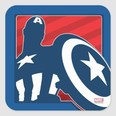 Captain America Silhouette Icon Square Sticker