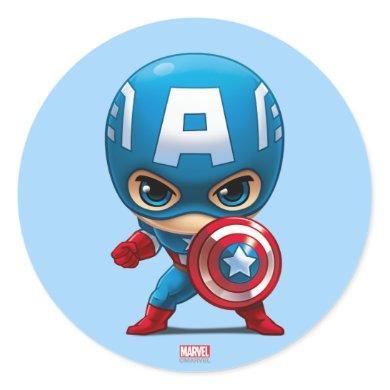 Captain America Stylized Art Classic Round Sticker
