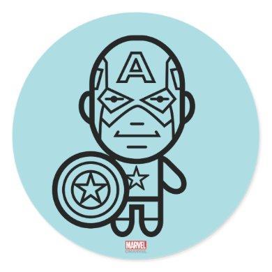 Captain America Stylized Line Art Classic Round Sticker